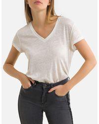 IKKS Camiseta de lino con cuello de pico y manga corta - Blanco
