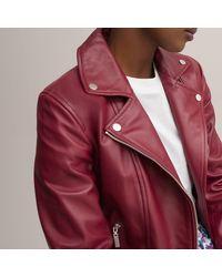 La Redoute Blouson biker en cuir - Rouge