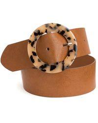 La Redoute Cinturón ancho, hebilla redonda estilo piel - Marrón