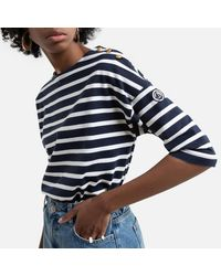 Petit Bateau Camiseta marinera, cuello barco - Azul