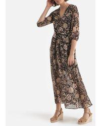IKKS - Vestido estilo paitnadora con estampado de flores, largo - Lyst