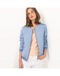 LA REDOUTE | Quilted Zip-up Denim Jacket | Lyst