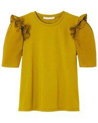 English Factory Tee shirt col rond à volant sur manches courtes - Jaune