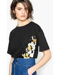 La Redoute - Printed And Embroidered Floral T-shirt - Lyst