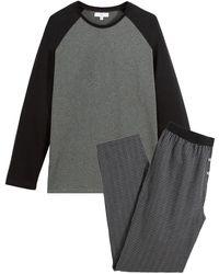 La Redoute Pijama de manga larga con pantalón estampado a cuadros - Negro