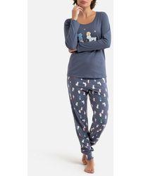 La Redoute Pijama de manga larga con pantalón estampado - Azul