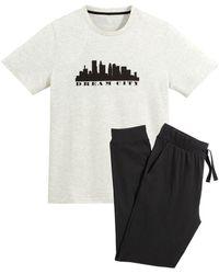 La Redoute Pijama estampado de manga corta - Blanco