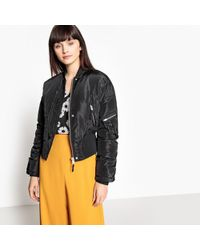 La Redoute - Cropped Bomber Jacket With Satin Finish - Lyst