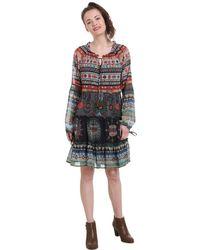 Desigual Vestido corto con estampado étnico, de gasa - Gris