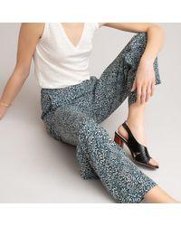 La Redoute Pantalon fluide, taille haute imprimé floral - Bleu