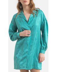La Redoute Camisón con forma de chaqueta de pijama de satén - Verde
