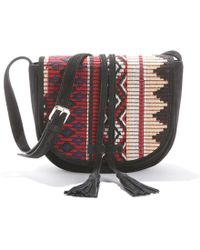 La Redoute - Leather Cross Body Bag With Print Fabric Flap - Lyst