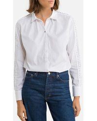 IKKS Camisa bordada, manga larga - Blanco