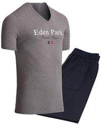 Eden Park Pijama corto cuello en V - Gris