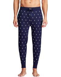 Polo Ralph Lauren Pantalón de pijama de punto de algodón estampado poney - Azul