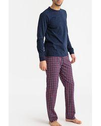 La Redoute Pijama de manga larga con pantalón a cuadros - Azul