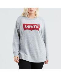 Levi's Sudadera con logotipo PLUS RELAXED GRAPHIC CREW - Gris