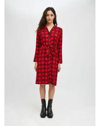 Compañía Fantástica Robe-chemise, imprimé à pois, mi-longue - Rouge