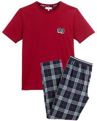 La Redoute Pijama de manga corta y pantalón estampado a cuadros - Rojo