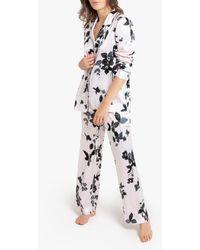 La Redoute Pijama de maga larga con estampado de flores, de satén - Blanco