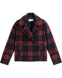 La Redoute Sobretodo corto de lana mixta a cuadros - Rojo