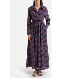 LA BRAND BOUTIQUE COLLECTION Robe patineuse imprimé cachemire, longue ODILE - Violet