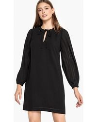Best Mountain - Round Neck Dress With Pleated Sleeves - Lyst