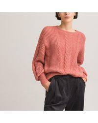La Redoute Pull col rond en grosse maille - Rose