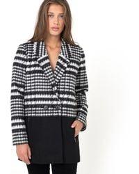 Ichi - Sonia Two-tone Wool Mix Coat - Lyst