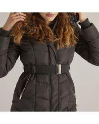 Rene' Derhy - Hooded Mid-length Padded Jacket With Belt - Lyst