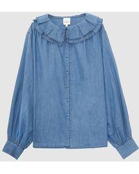 Petite Mendigote Blusa con cuello redondo y manga larga - Azul