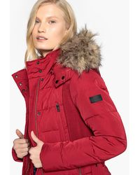 Pepe Jeans - Short Padded Jacket With Belt And Fur Hood - Lyst