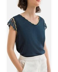 Naf Naf T-shirt manches courtes, col V - Bleu