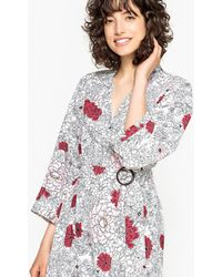 La Redoute - Belted Floral Print Dress With Asymmetric Hem - Lyst