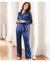 La Redoute Pijama de manga larga de satén - Azul