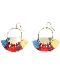La Redoute - Metal Earrings With Coloured Tassel Trim - Lyst