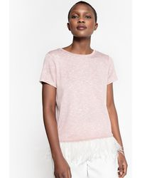 La Redoute - Short-sleeved T-shirt With Feather Trim Hem - Lyst