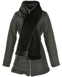 Rene' Derhy - Padded Coat With Long Faux Fur Collar - Lyst