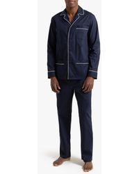 La Redoute Pijama con chaqueta de cuello sastre, 100% algodón - Azul