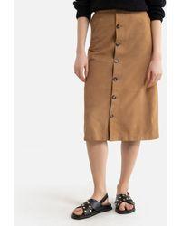 Oakwood Falda recta de piel de cabra ALIANA - Marrón