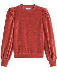 La Redoute Sudadera de terciopelo, cuello redondo, manga larga - Rojo