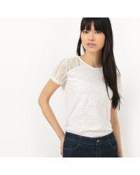 La Redoute - Cotton Lace Detail T-shirt - Lyst