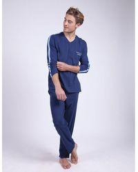 Athena Pijama de algodón orgánico - Azul