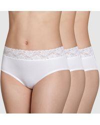 DIM Braguita maxi Coton Stretch Feminine (lote 2+1 gratis) - Blanco