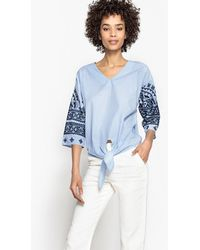 LA REDOUTE | V-neck Tie Front Blouse With Printed Sleeves | Lyst
