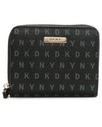 DKNY - Milly Black Logo Zip Around Purse - Lyst
