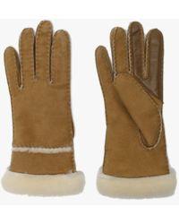 UGG Womens Chestnut Sheepskin Seamed Tech Gloves - Multicolour