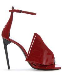 Saint Laurent - Freja 150 Bow Red Patent Leather Sandals - Lyst