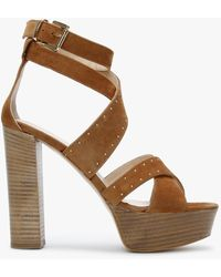 Daniel Adia Tan Suede Studded Platform Sandals - Brown