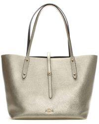 COACH - Market Polished Platinum Chestnut Leather Tote Bag - Lyst